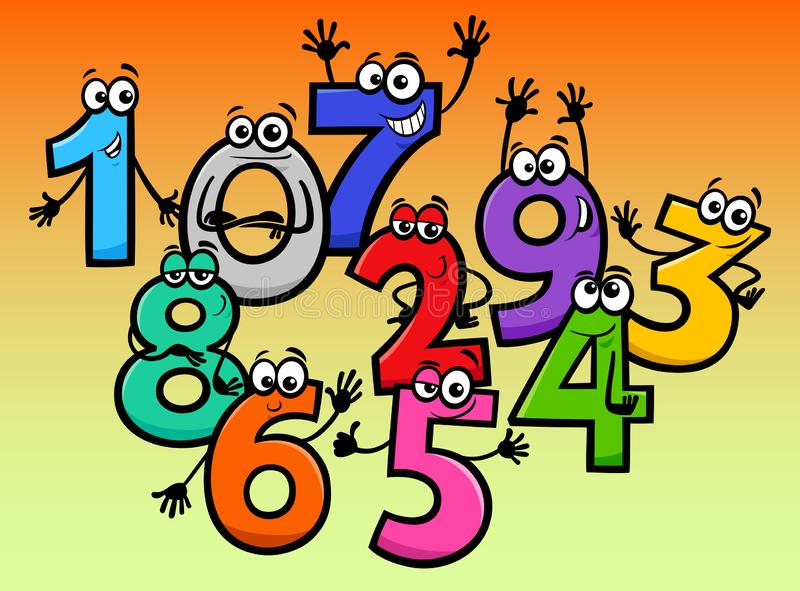Happy basic numbers cartoon characters vector illustration