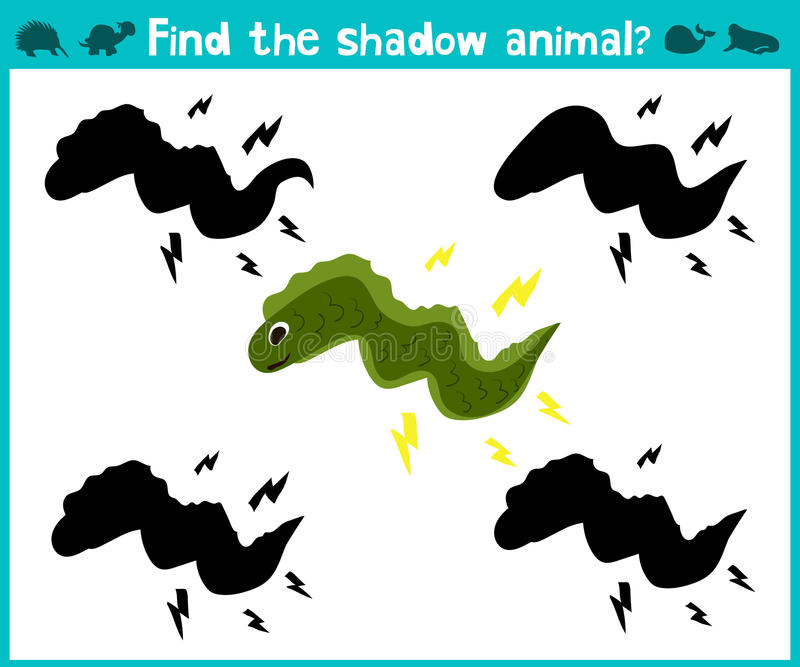 Educational children cartoon game for children of preschool age. Find the right shade cute marine electric eel. Vector. Illustration stock illustration
