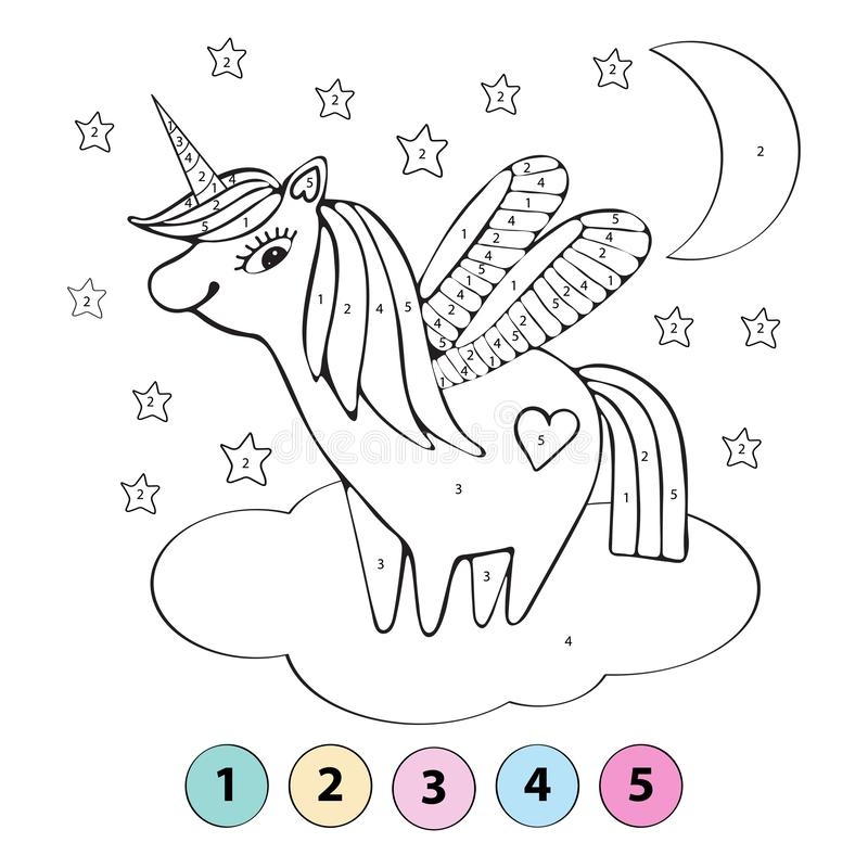 Educational children game. Color the picture by number. Coloring book. A cute unicorn flies on a cloud among the stars. Vector stock illustration
