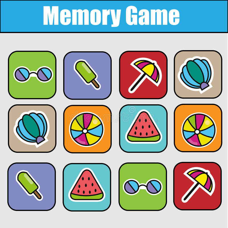 Educational children game, kids activity. Memory game, summer holidays theme vector illustration