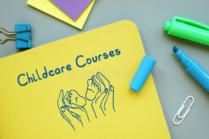 Educational concept about Childcare Courses with inscription on the sheet.  stock images