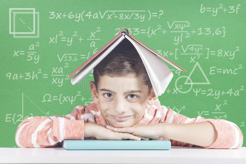 Education concept. Educational concept with happy school boy royalty free stock photo