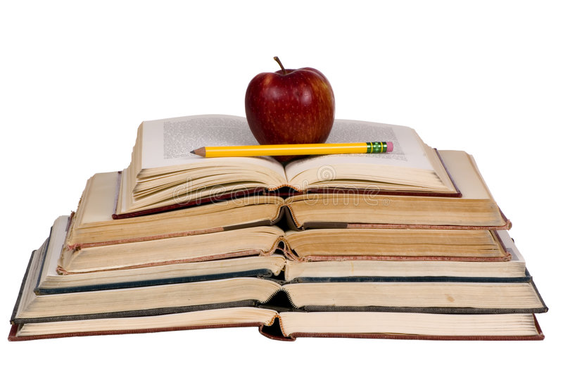 Educational Concepts (open books with apple) stock photo