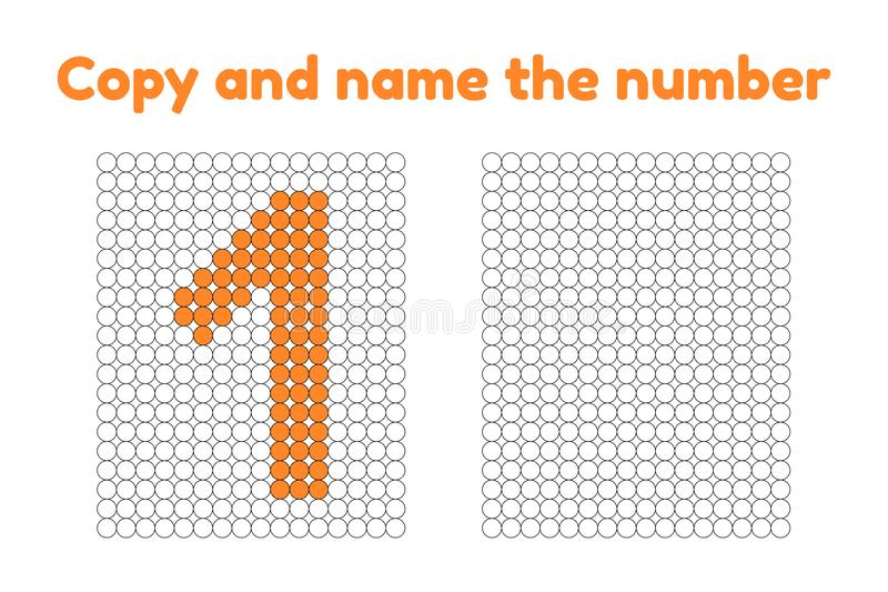 Educational game for attention for children of kindergarten and. Preschool age. Repeat the picture. Copy and name the number. Color by example. Orange one. 1 stock illustration