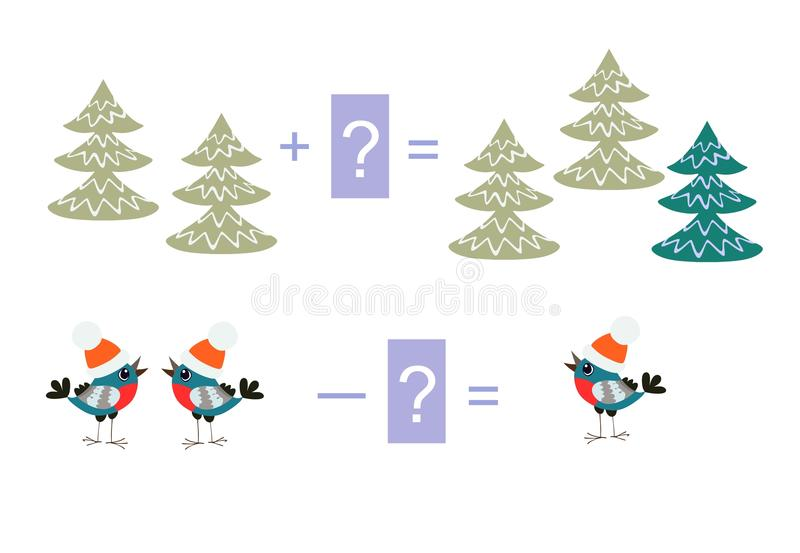 Educational game for children. Examples with cute colorful trees and birds. Educational game for children. Cartoon illustration of mathematical addition and stock illustration