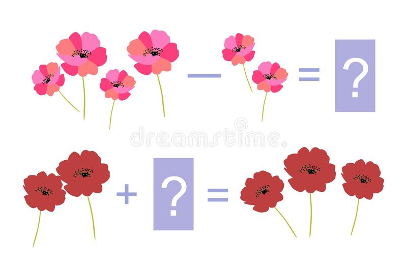 Educational game for children. Examples with bright flowers. Educational game for children. Cute illustration of mathematical addition and subtraction. Vector stock illustration