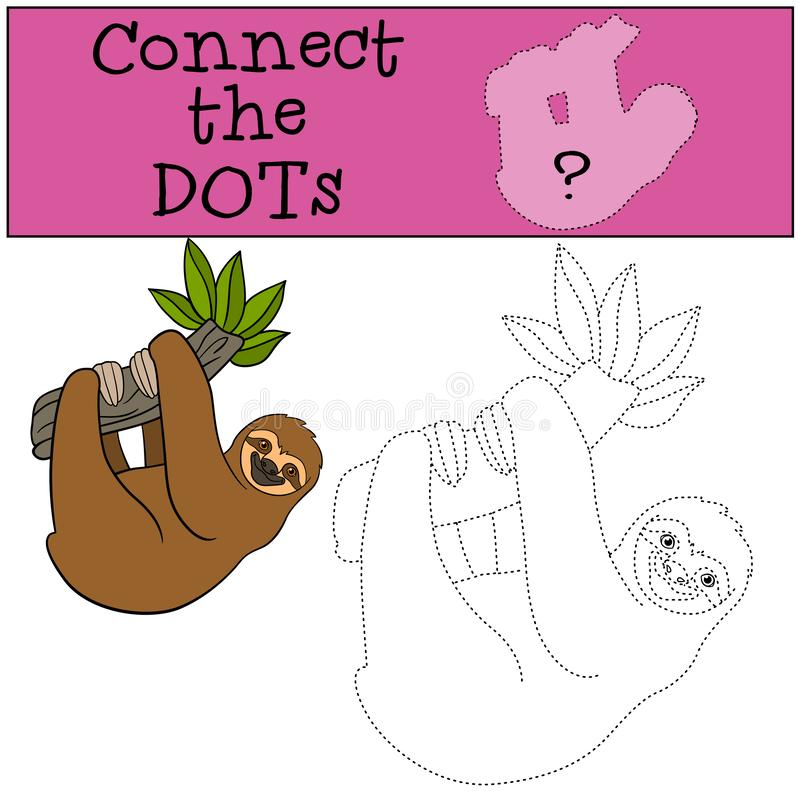 Educational game: Connect the dots. Cute lazy sloth. Hangs on the tree branch and smiles vector illustration