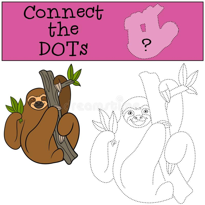 Educational game: Connect the dots. Cute lazy sloth. Hangs on the tree branch and smiles royalty free illustration
