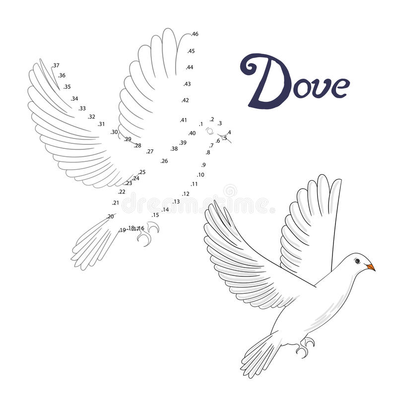 download educational game connect dots to draw dove bird stock vector image 61110720