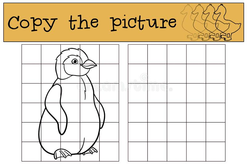 Educational game: Copy the picture. Little cute baby penguin smi. Educational game: Copy the picture. Little cute baby penguin stands and smiles vector illustration