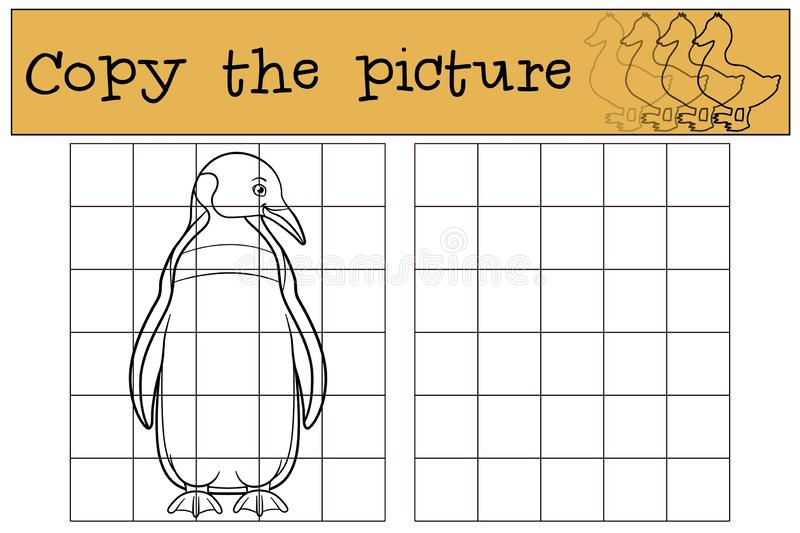 Educational game: Copy the picture. Little cute penguin smiles. Educational game: Copy the picture. Little cute penguin stands and smiles royalty free illustration
