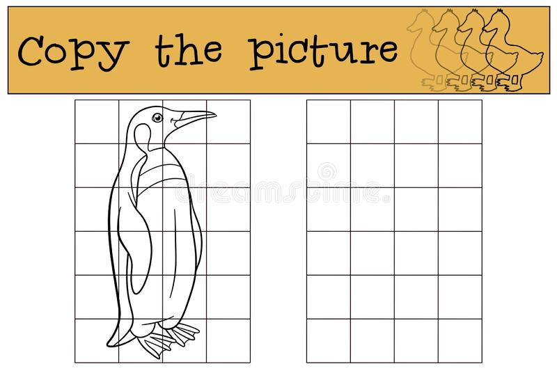 Educational game: Copy the picture. Little cute penguin smiles. Educational game: Copy the picture. Little cute penguin stands and smiles vector illustration