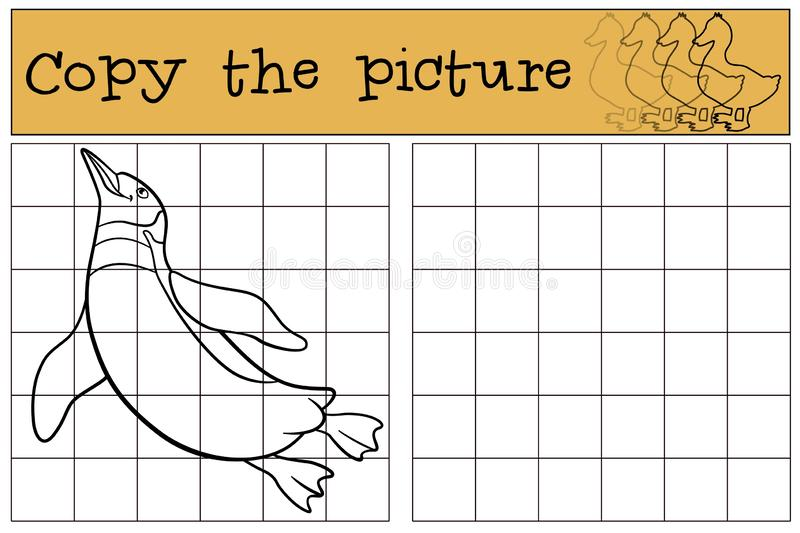 Educational game: Copy the picture. Little cute penguin swims. And smiles stock illustration