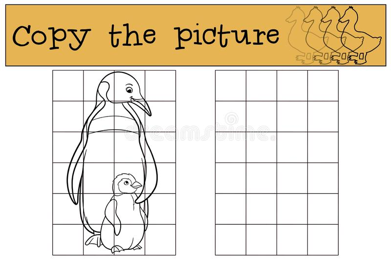 Educational game: Copy the picture. Mother penguin with her baby. Educational game: Copy the picture. Mother penguin stands with her little cute baby and smiles stock illustration