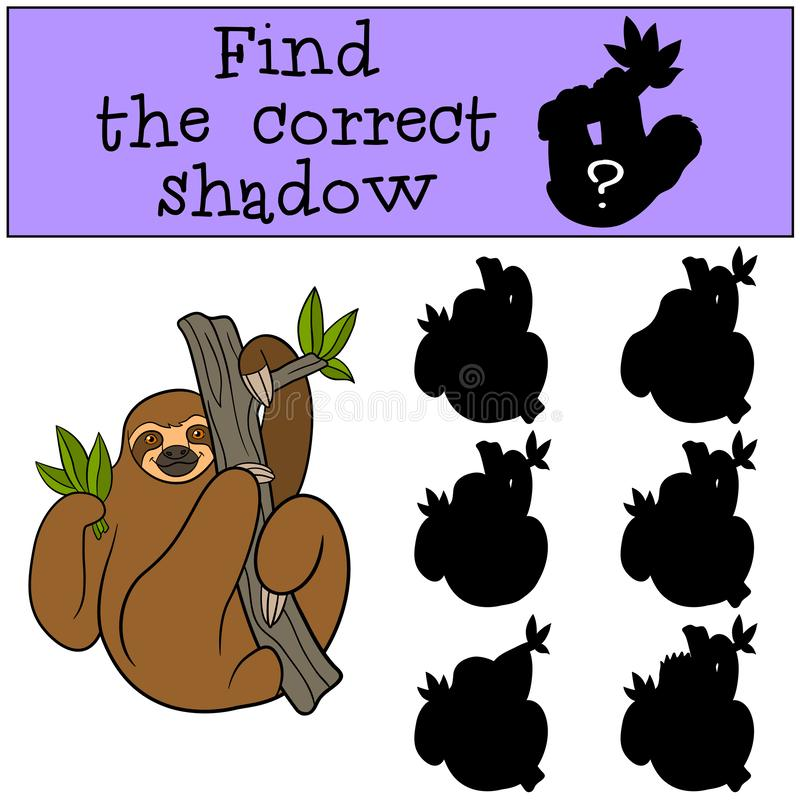 Educational game: Find the correct shadow. Cute lazy sloth. Hangs on the tree branch and smiles royalty free illustration