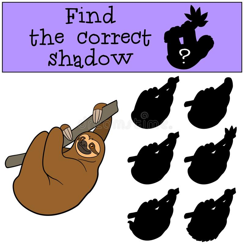 Educational game: Find the correct shadow. Cute lazy sloth. Hangs on the tree branch and smiles stock illustration