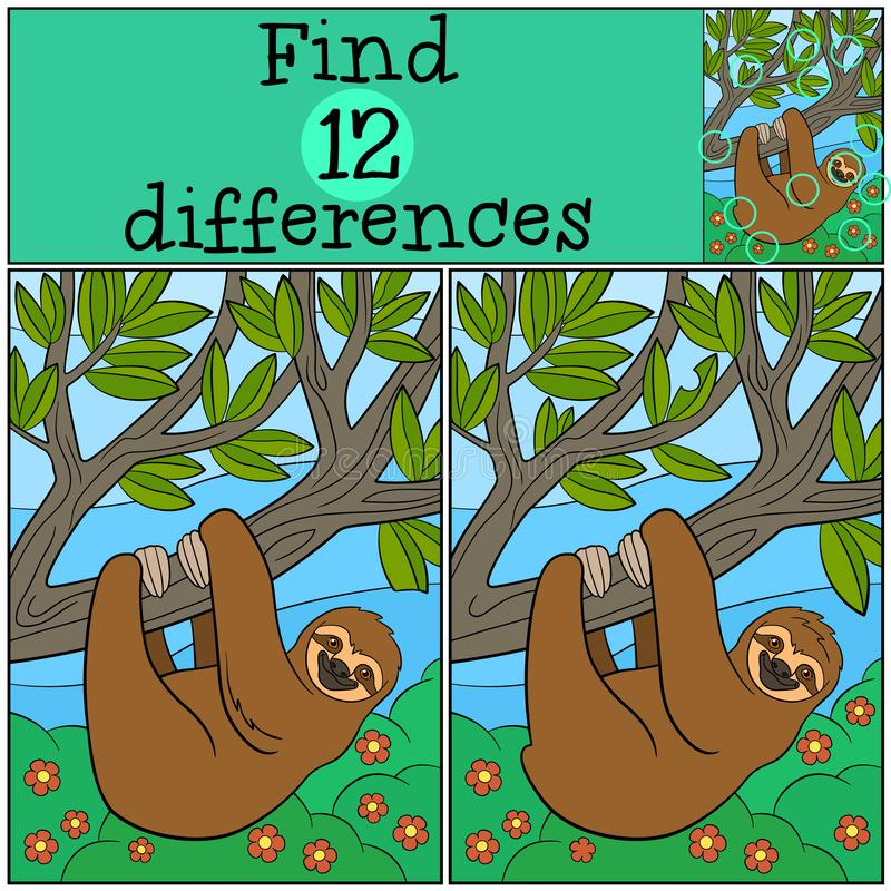 Educational game: Find differences. Cute lazy sloth. Hangs on the tree branch and smiles stock illustration