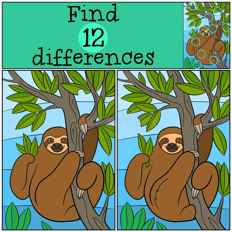 Educational game: Find differences. Cute lazy sloth. Hangs on the tree branch and smiles royalty free illustration