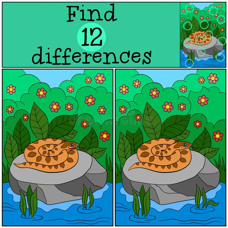 Educational game: Find differences. Little viper on the stone. Educational game: Find differences. Little cute viper on the stone vector illustration
