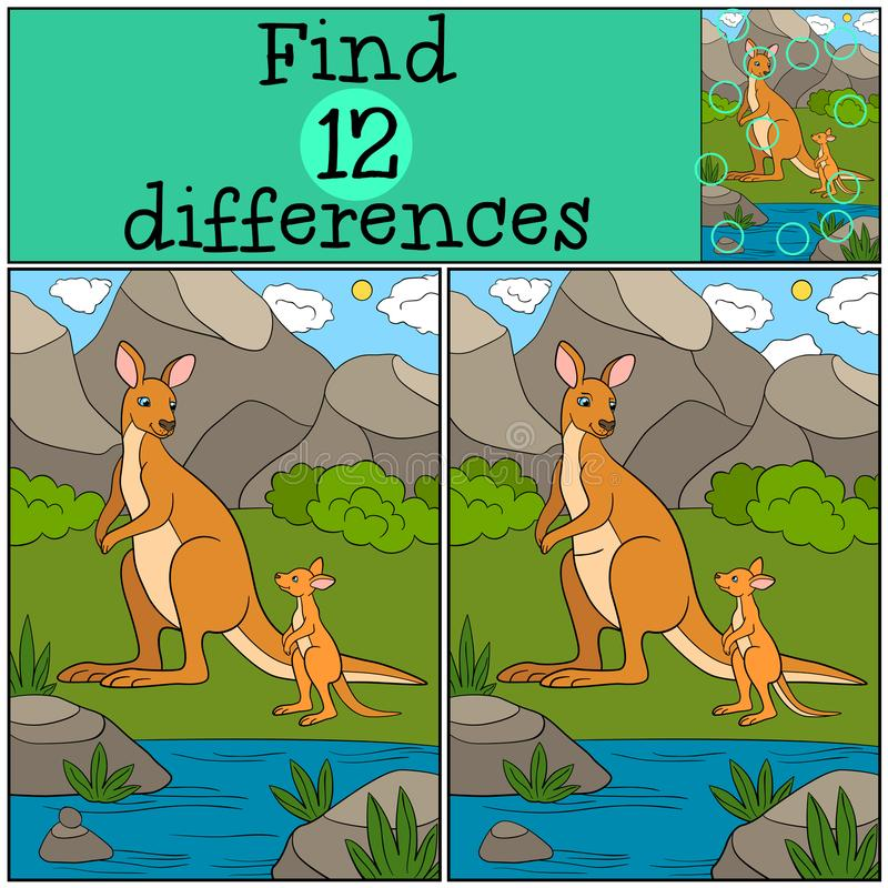 Educational game: Find differences. Mother kangaroo with her baby. Educational game: Find differences. Mother kangaroo with her cute baby stock illustration