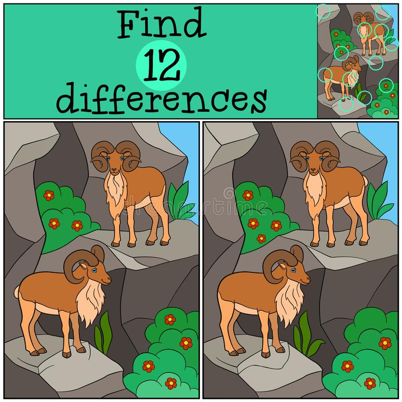 Educational game: Find differences. Two beautiful urials on the mountains. Educational game: Find differences. Two beautiful urials stand on the mountains and vector illustration