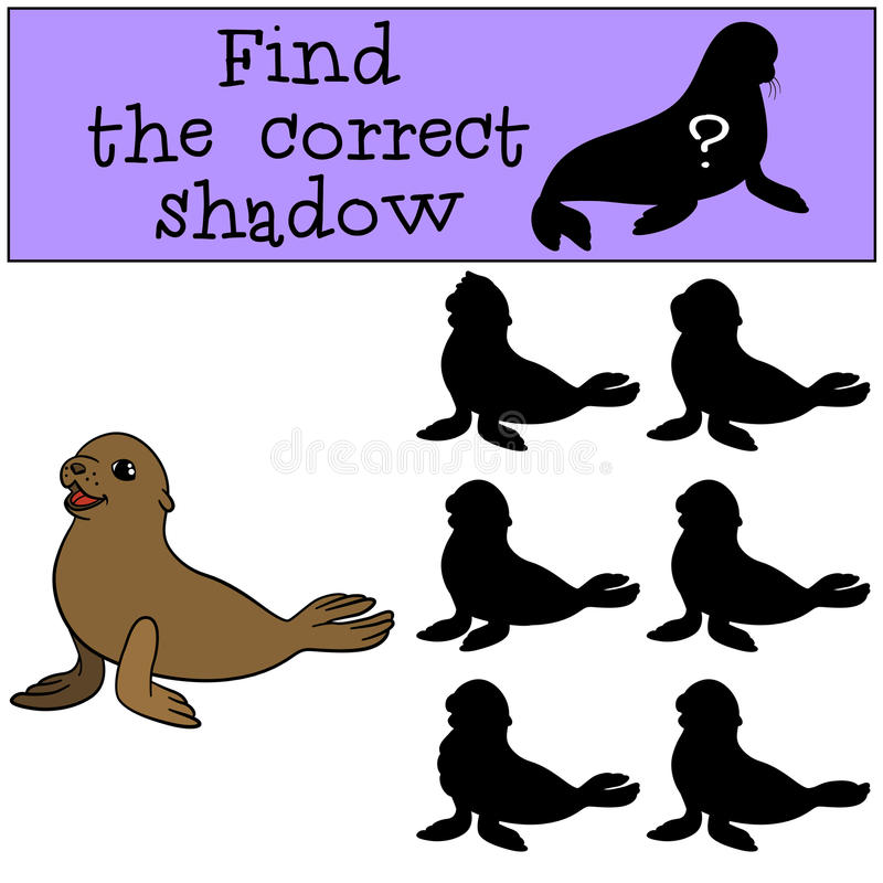 Free Educational Game: Find The Correct Shadow. Little Cute Baby Seal Royalty Free Stock Photos - 74399318