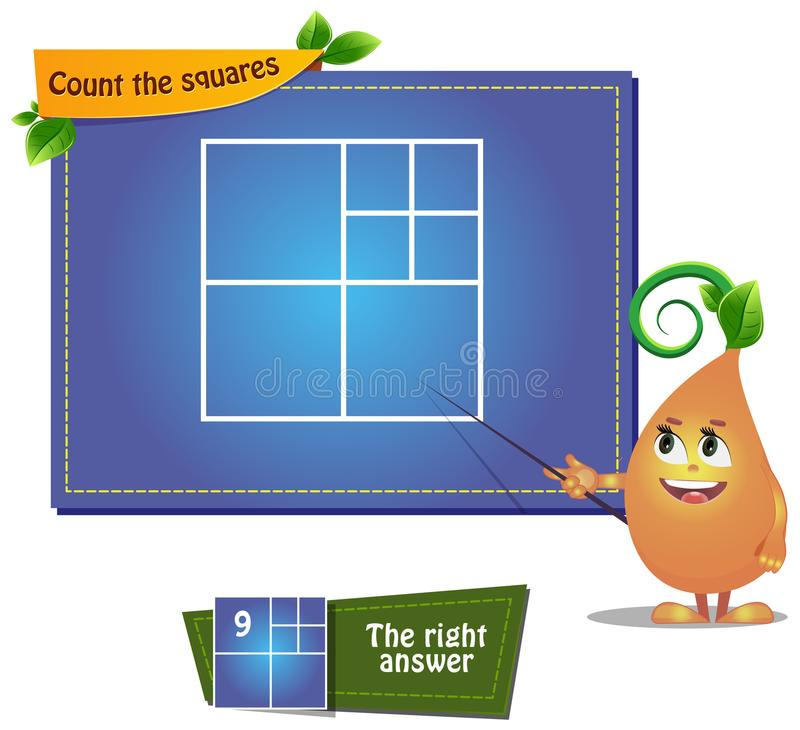 Count the squares iq. Educational game for kids and adults development of logic, iq. Task game count the squares stock illustration