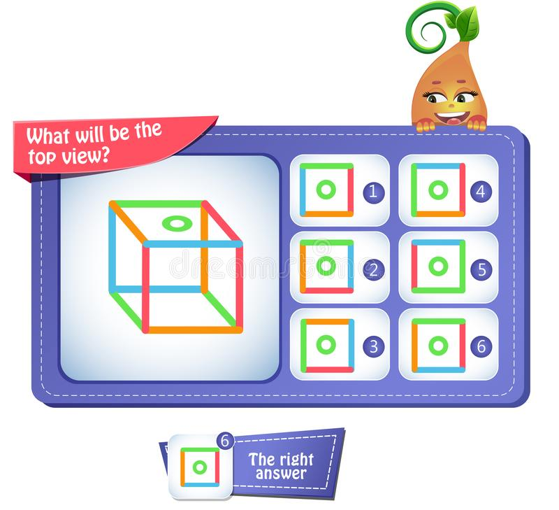 Top view square. Educational game for kids, puzzle. development of spatial thinking in children suitable both for kids and adults. Task game what will be the top stock illustration