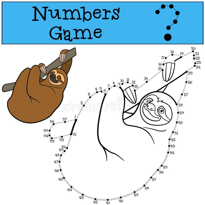 Educational game: Numbers game with contour. Cute lazy sloth. Hangs on the tree branch and smiles stock illustration