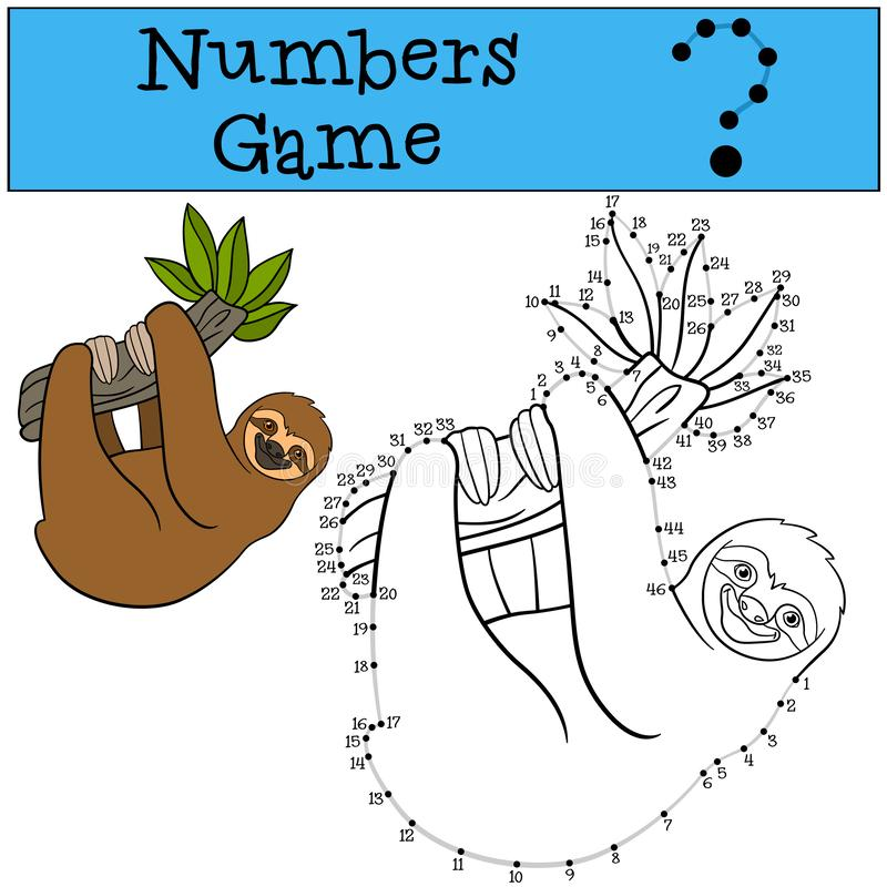 Educational game: Numbers game with contour. Cute lazy sloth. Hangs on the tree branch and smiles vector illustration