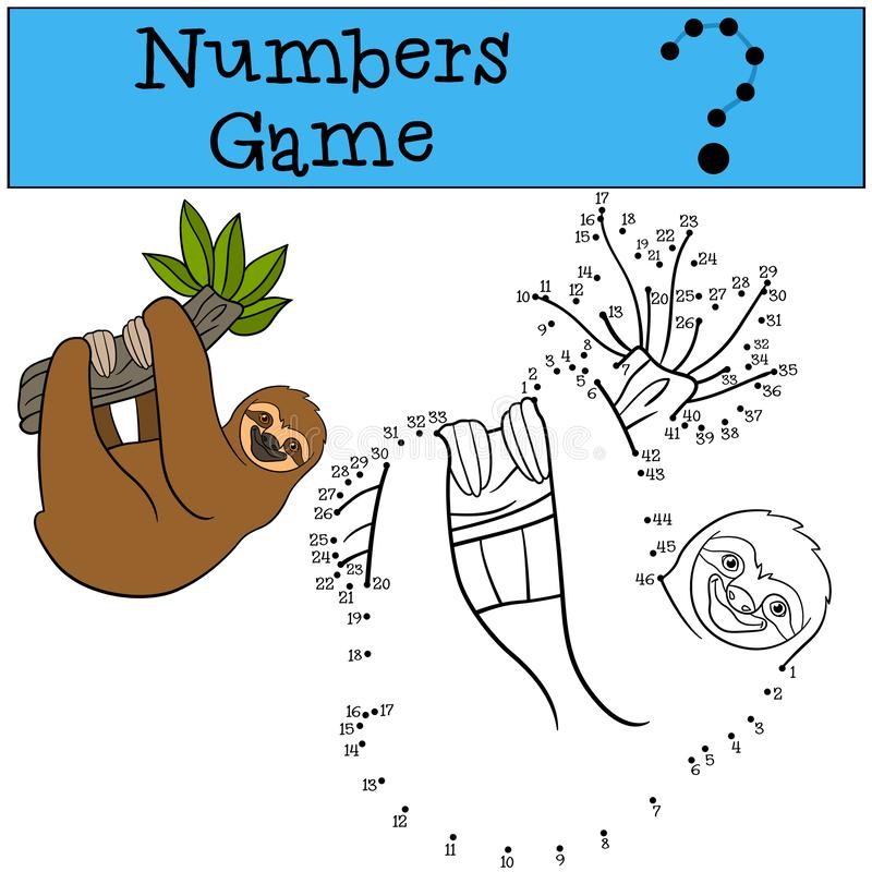 Educational game: Numbers game. Cute lazy sloth. Hangs on the tree branch and smiles stock illustration