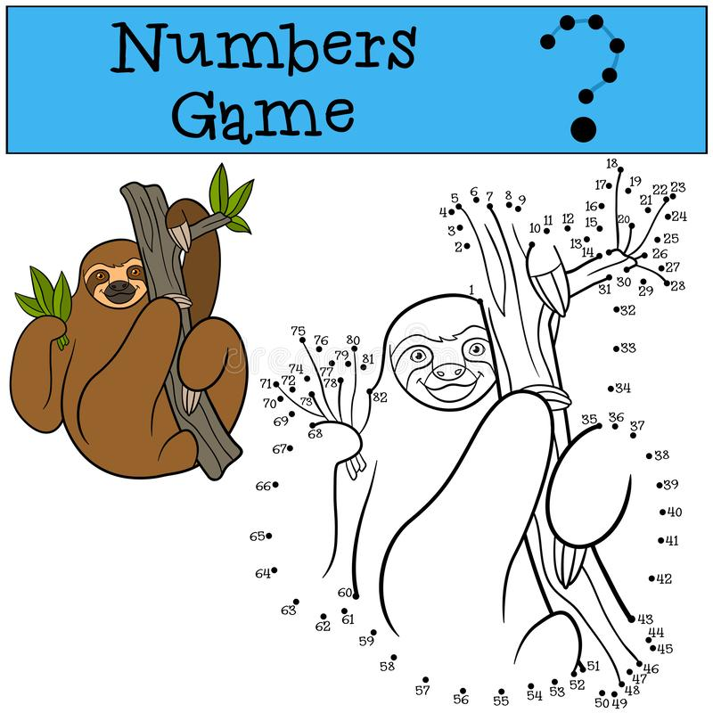 Educational game: Numbers game. Cute lazy sloth. Hangs on the tree branch and smiles royalty free illustration
