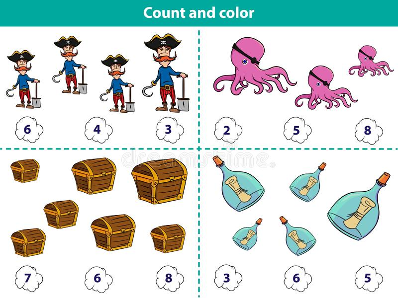 Educational game for preschool children Count and color the circle with correct answer. Set of cartoon pirate characters. Vector. Educational game for preschool vector illustration