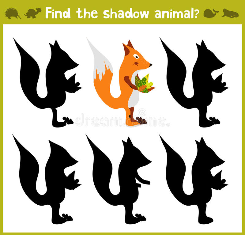 Educational games for children, cartoon for children of preschool age. Find the right shade for the wild red Fox. Vector illustration stock illustration