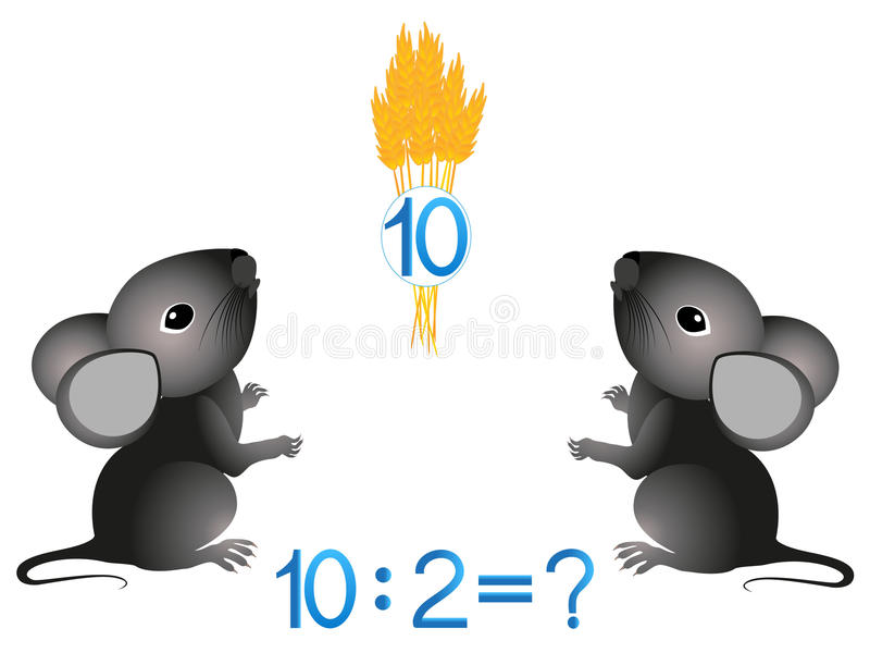 Educational games for children, divide by two the number. vector illustration