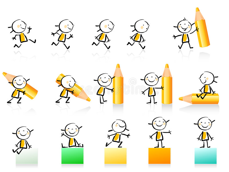 Educational icon set. Children hand-drawing style educational icon set. Cute girl character series, grouped and layered for easy editing. See similar in my royalty free illustration