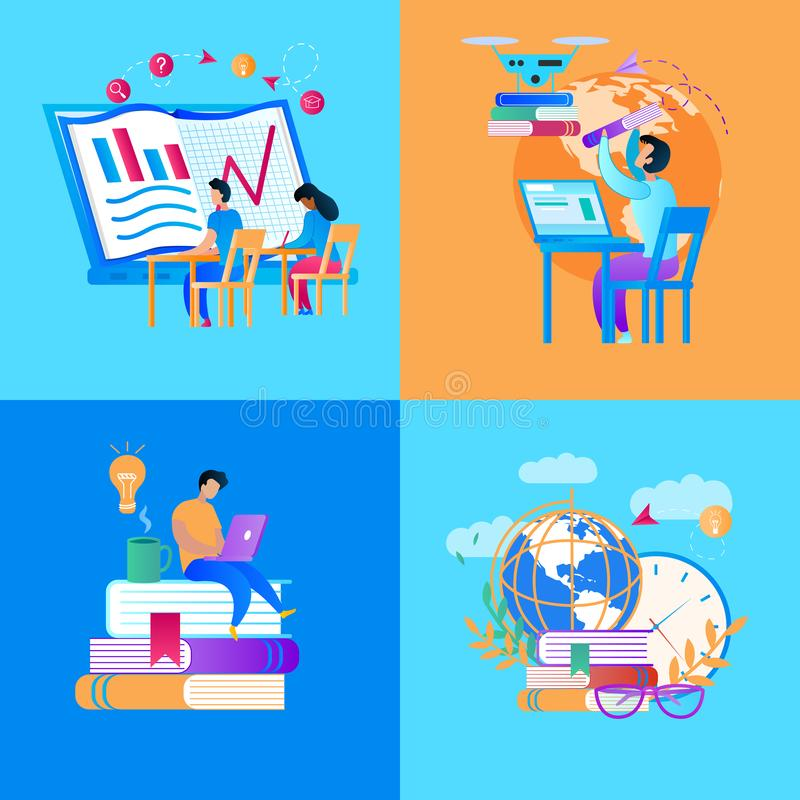 Educational Icon Set on Multicolored Background royalty free illustration