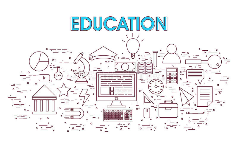 Educational Infographic elements. Set of various Infographic elements with digital device for Education concept royalty free illustration