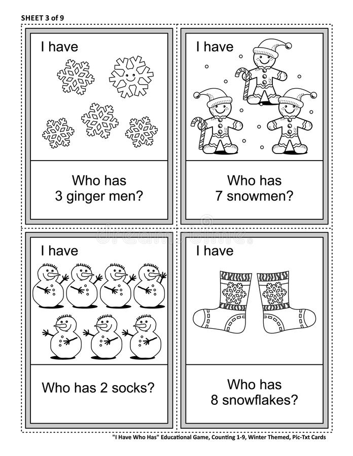 Educational game - I Have Who Has - learn or reinforce counting. Winter and holidays themed. Sheet from set of 9. vector illustration