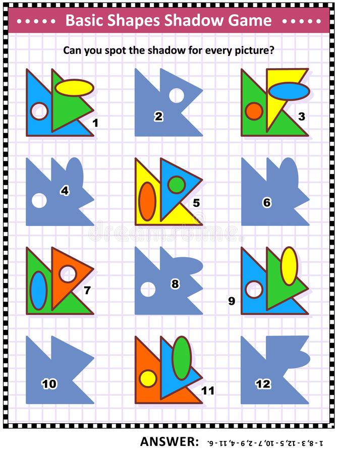 Basic shapes learning and practice math visual puzzle. Educational math visual puzzle, basic shapes learning and practice themed: Match the pictures to their stock illustration