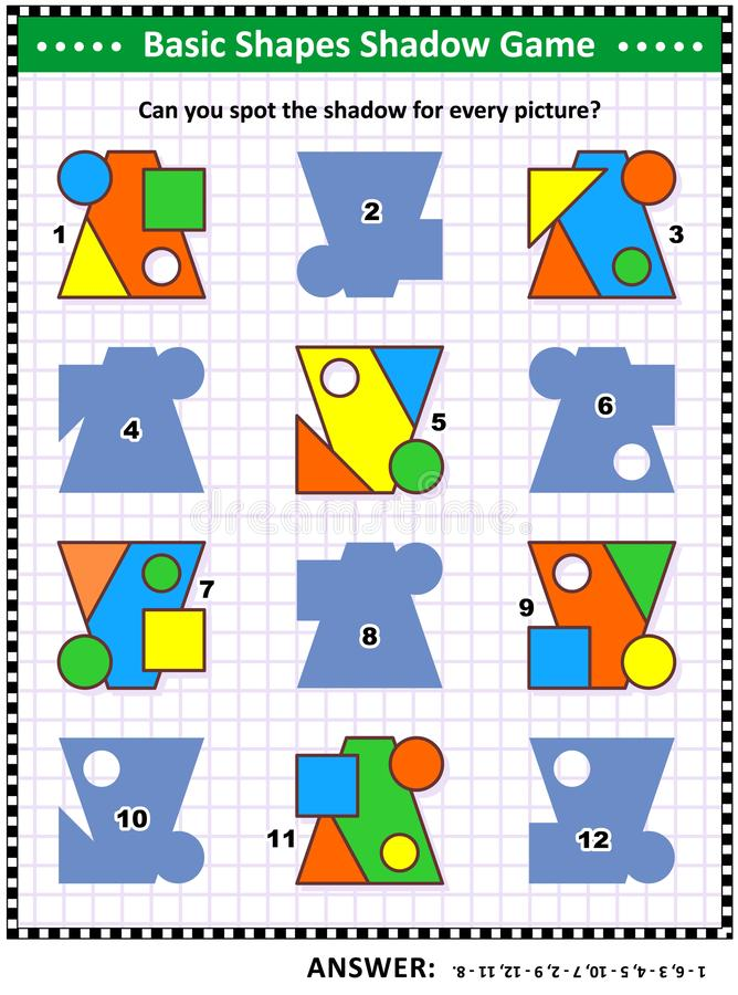 Basic shapes learning and practice math visual puzzle. Educational math visual puzzle, basic shapes learning and practice themed: Match the pictures to their vector illustration