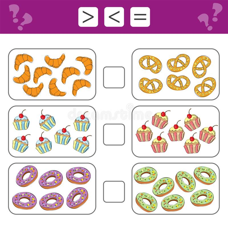 Educational mathematical game for kids. Learning counting - more, less or equal royalty free illustration