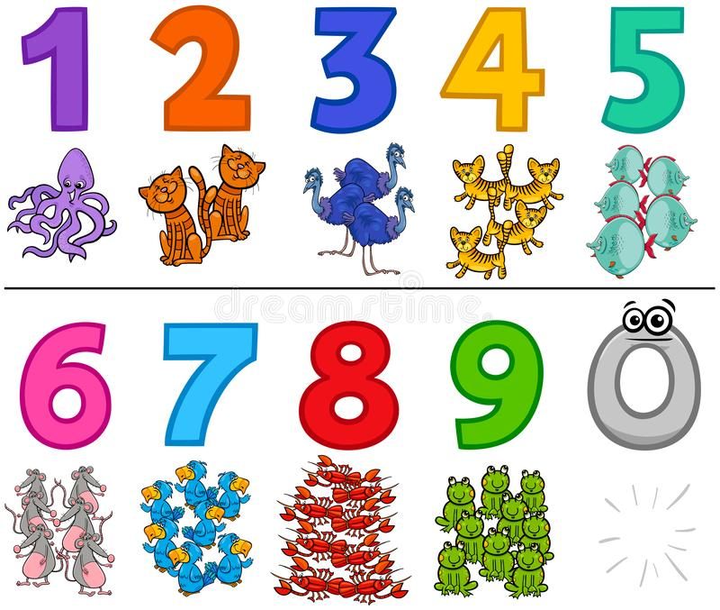 Educational numbers set with cartoon animals royalty free illustration