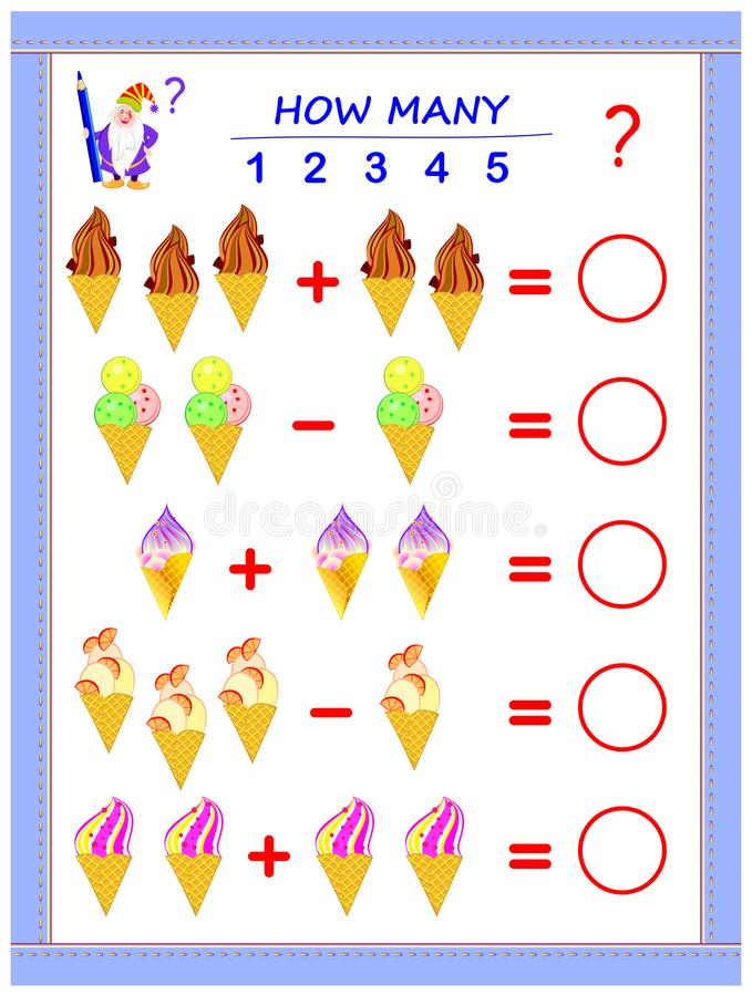 Educational page for children on addition and subtraction. Solve examples, count the quantity of ice creams and write numbers. Educational page for children on stock illustration