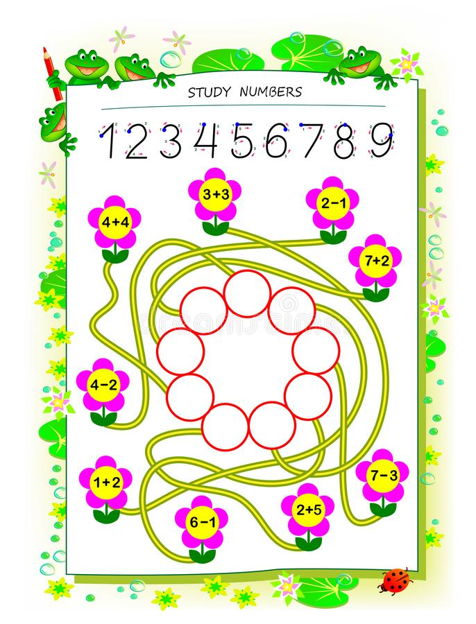 Educational page for children math book with exercises on addition and subtraction. Need to solve examples and write numbers. Educational page for children math vector illustration