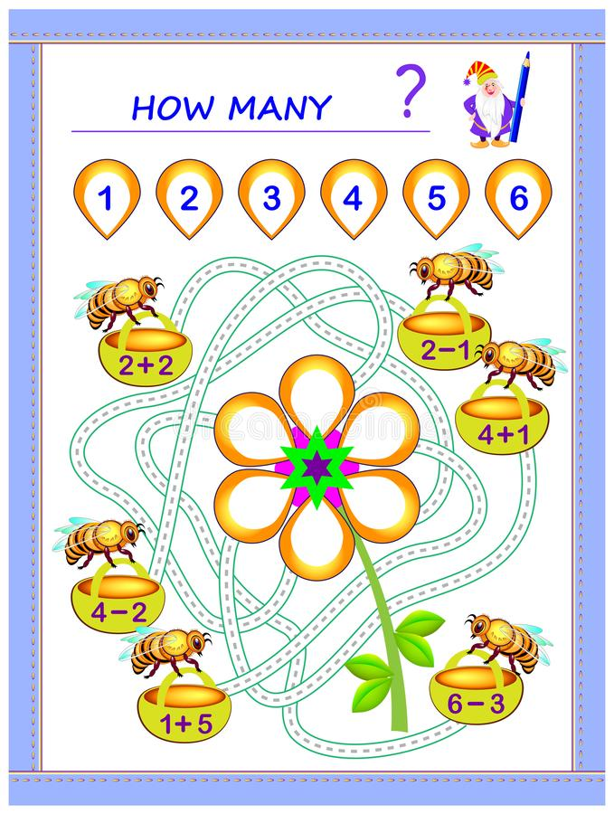 Educational page for children math book with exercises on addition and subtraction. Need to solve examples and write numbers. Educational page for children math royalty free illustration