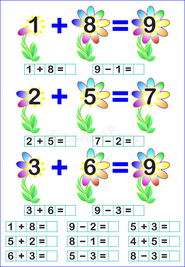 Educational Page For Children With Mathematical Exercises. Stock ...