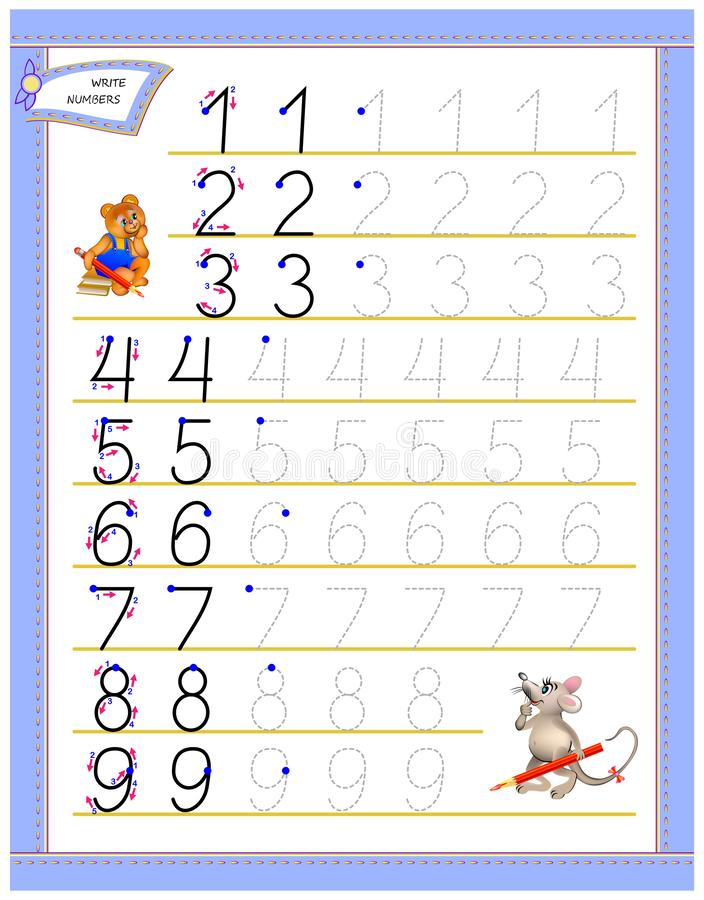 Educational page for children to study writing numbers. Worksheet for kids textbook. Developing skills for counting. Vector image. Developing children skills stock illustration