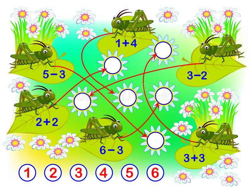 Educational page with exercises for children on addition and subtraction.  Solve examples and draw numbers in circles. Printable worksheet for kids. Developing vector illustration