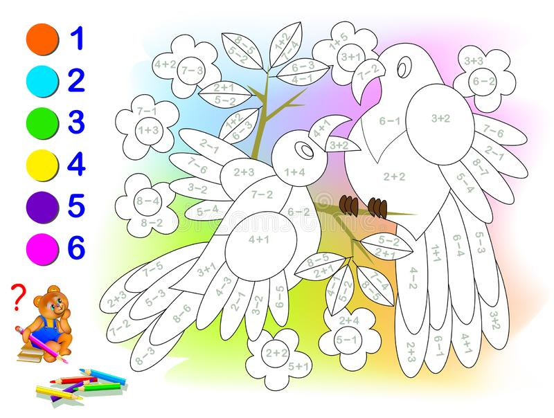 Educational page with exercises for children on addition and subtraction. Solve examples and paint the birds in relevant colors. Developing skills for counting vector illustration